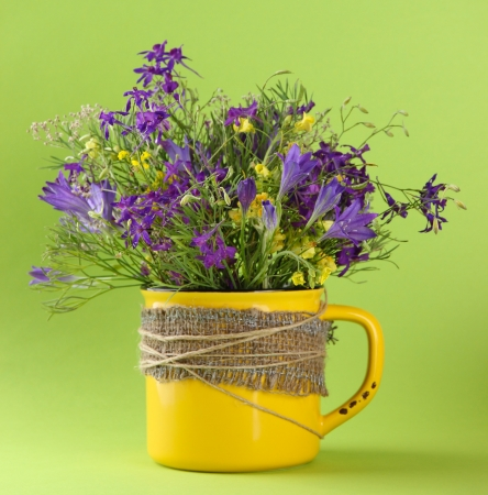 Beautiful bouquet of wildflowers in cup on green background photo