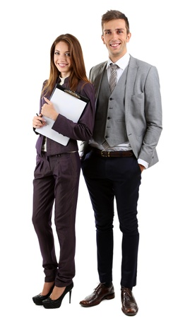 Successful business people isolated on white photo
