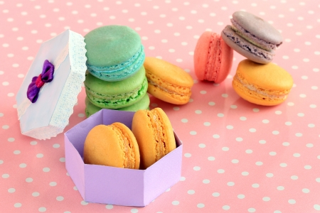 Gentle macaroons on pink background Stock Photo - 21003568