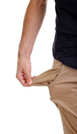 Man showing his empty pocket, isolated on white photo