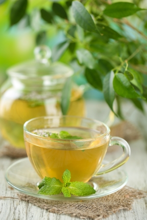 Teapot and cup of herbal tea with fresh mint flowers on wooden table photo