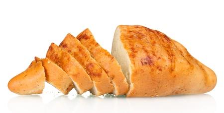 tasty sliced white bread isolated on white photo