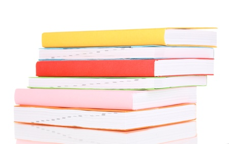 Stack of multicolor books  isolated on white Stock Photo - 21033130