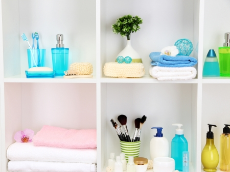 Bath accessories on shelfs in bathroom Stock Photo - 21033161