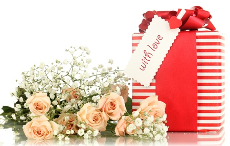 Gift-box and flowers isolated on white photo