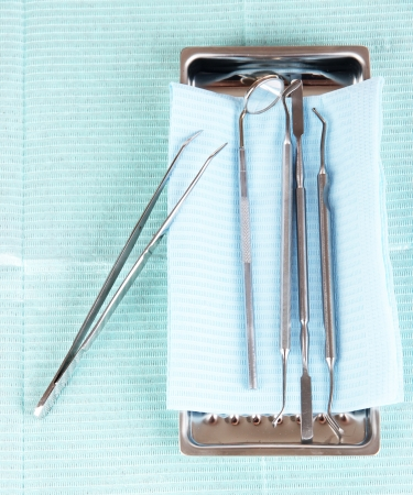 Dentist tools on napkin close-up Stock Photo