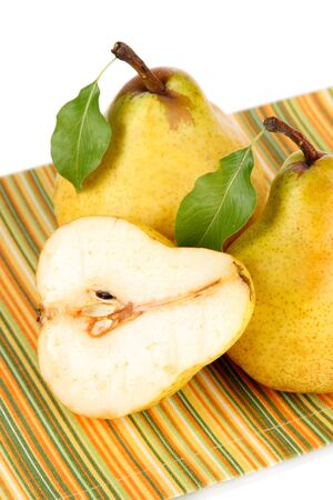 Juicy pears isolated on white photo
