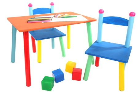 Small and colorful table and chairs for little kids isolated on white Stock Photo - 21092610