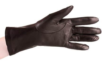 leather gloves: women hand in black leather glove isolated on white