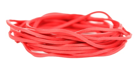 Red rubber bands isolated on white photo