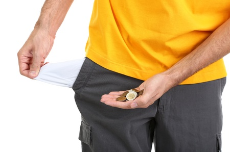 empty pocket: Man showing his empty pocket, isolated on white