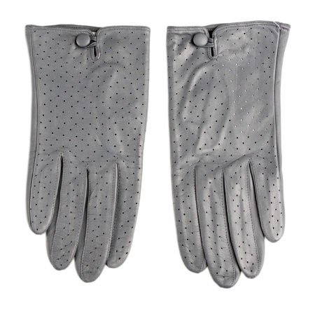 Beautiful gray leather womens gloves isolated on white photo