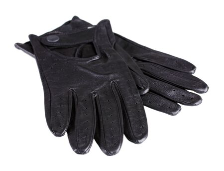 leather gloves: Beautiful black leather womens gloves isolated on white