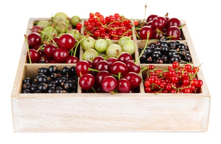 Different summer berries in wooden crate isolated on white photo