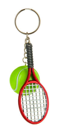 Key chain-tennis racket and tennis ball isolated on white photo
