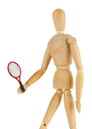 Wooden mannequin with tennis racket isolated on white photo