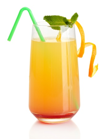 longdrink: Glass of multicolor cocktail isolated on white