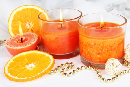 Romantic lighted candles close up photo