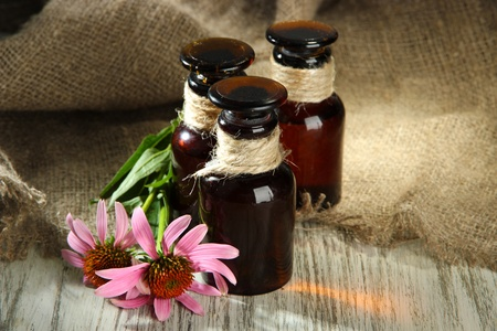 Medicine bottles with purple echinacea flowers on wooden table with burlap photo