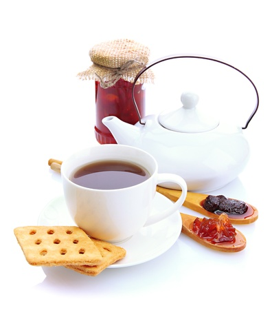 light breakfast with tea and homemade jam, isolated on white photo
