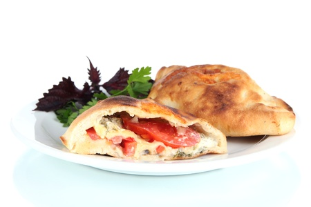 Pizza calzone on table isolated on white Stock Photo