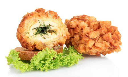 Chicken Kiev isolated on white photo