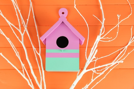 Decorative nesting box  with color branches, on color wooden  background photo