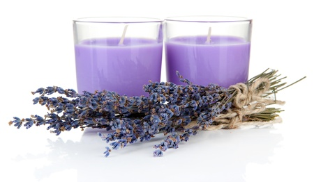 Lavender candles with fresh lavender, isolated on white photo
