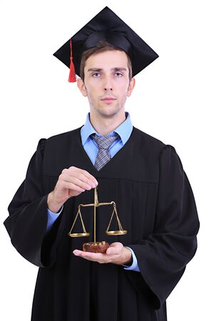 Young graduate lawyer isolated on white photo