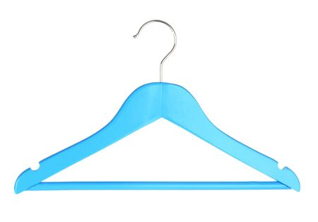 clothes hanger: Blue wooden hanger isolated on white