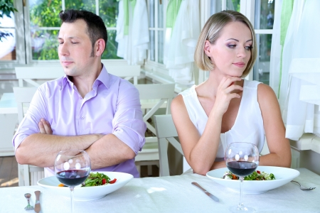 annoyance: Lovers being unhappy because of  troubled date