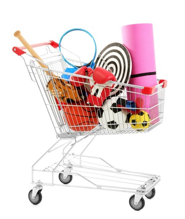 karemat: Shopping cart with sport equipment, isolated on white Stock Photo