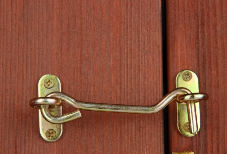 Metal hook in wooden door close-up photo