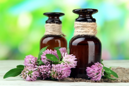 Medicine bottles with clover flowers on wooden table, outdoors Stock Photo - 21337734