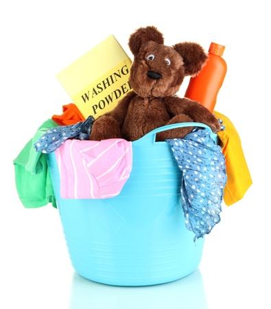 Blue laundry basket isolated on white Stock Photo - 21337866