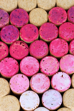 Pink wine corks close-up background Stock Photo