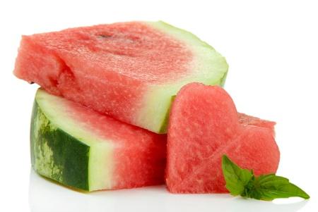Fresh ripe watermelon isolated on white Stock Photo