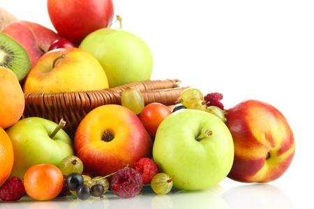 Assortment of juicy fruits, isolated on white photo