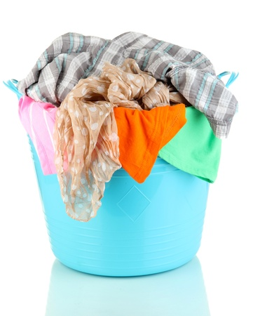 Blue laundry basket isolated on white Stock Photo - 21444207