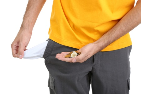 Man showing his empty pocket, isolated on white