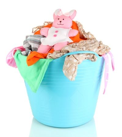 Blue laundry basket isolated on white Stock Photo - 21472995
