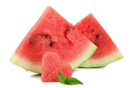 Fresh ripe watermelon isolated on white photo