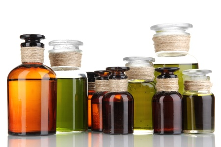 Medicine bottles isolated on white photo