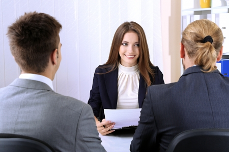 Job applicants having interview photo