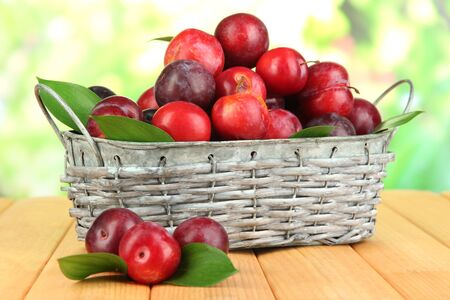 fructose: Ripe plums in basket on wooden table on natural background