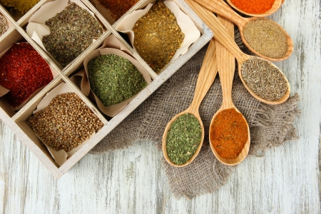 Assortment of spices in wooden spoons and box, on wooden background photo