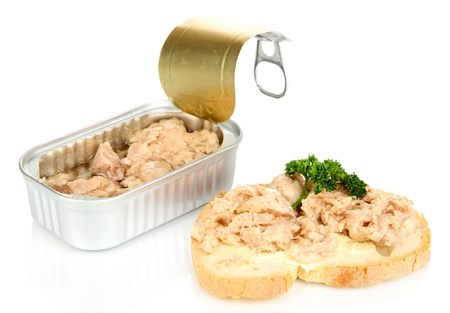 hermetic: Open tin can and tasty sandwich with cod liver, isolated on white