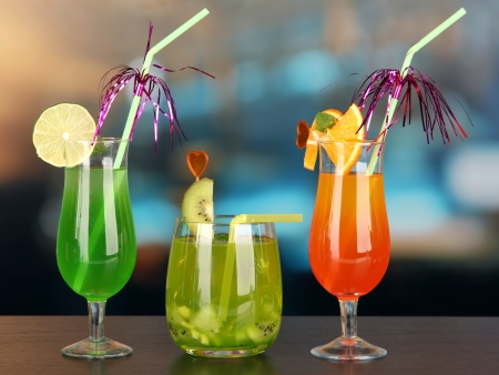 Set of different drinks on bright background Stock Photo - 21552921
