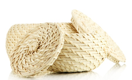 Two wicker baskets with covers, isolated on white photo