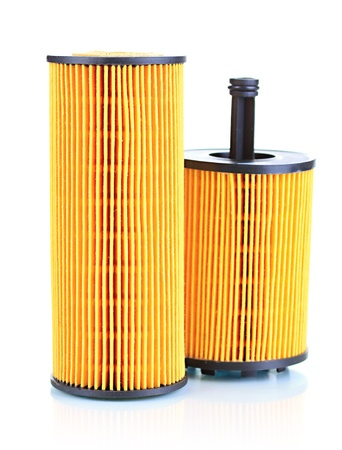 Car oil filters isolated on white photo